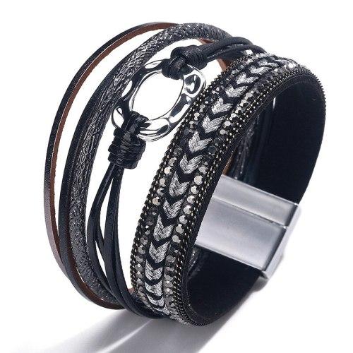 Cross-Border New European and American Hand-Woven Contrast Color Multi-Layer Bracelet Magnetic Buckle Bracelet Wholesale