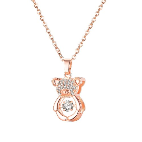 Korean Style Ins Smart Bear Necklace Rose Gold Plated Clavicle Chain Pendant Fashion All-Match for Girlfriend Gb033