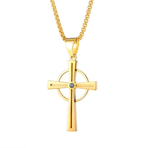 Ornament European and American Street Hip Hop Fashion Vintage Circle Cross Pendant Stainless Steel Necklace 1950