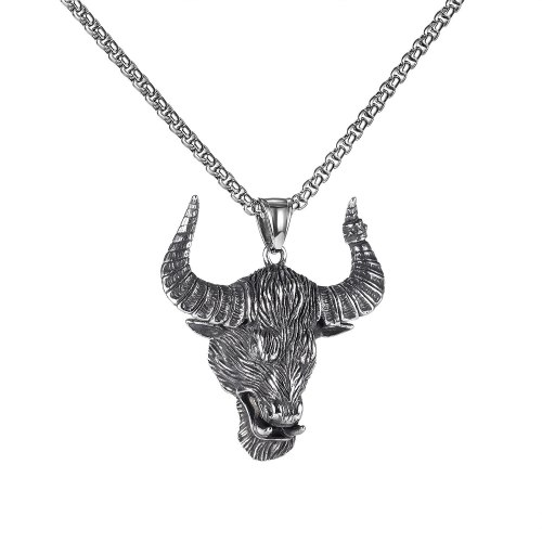 European And American Street Hip Hop Retro Simple Necklace Fashion Punk Men 'S Bull Head Pendant Stainless Steel Necklace Gb1949