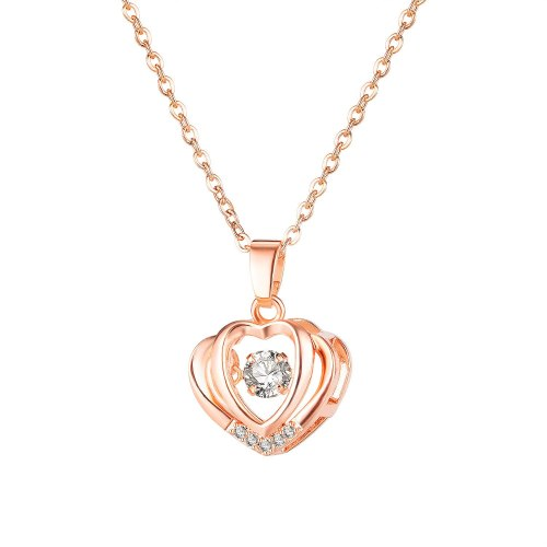 Korean Elegant Ocean Heart Necklace Diamond-Embedded Simple Clavicle Chain Pendant Heart-Shaped Necklace for Girlfriend Gb030