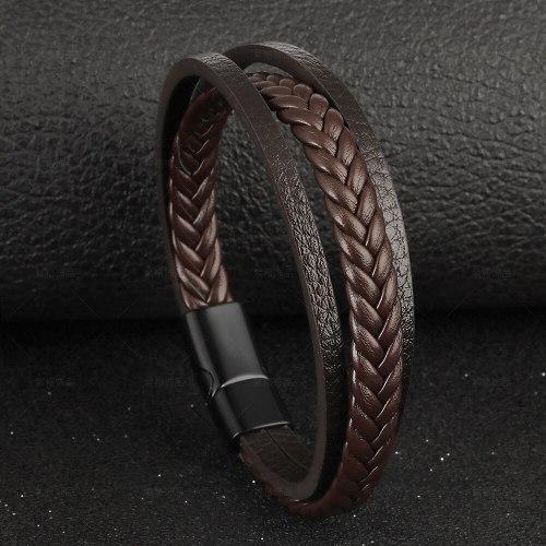 Cross-Border New Arrival Vintage Leather Rope Braided Bracelet Ethnic Style Magnetic Snap Men's Bracelet Wholesale 641