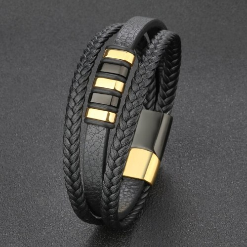 Popular Leather Cord Bracelet Stainless Steel Leather Braided Bracelets Genuine Leather Multilayer Jewelry Men's 4010