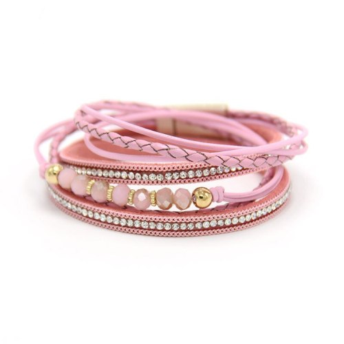 New Crystal Bracelet Leather Women's Long 3-Color Magnetic Snap European and American Jewelry Cross-Border Hot-Selling Product