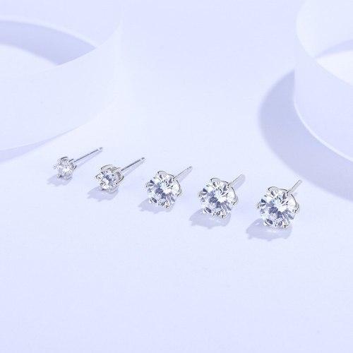 Hexaclaw Zircon Stud Earrings S925 Sterling Silver Women's Simple Personality Fashion Student Accessories E2080