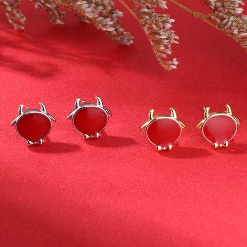 New Court Retro Zodiac Year Earrings 925 Sterling Silver Small Cute Earrings Women E2291