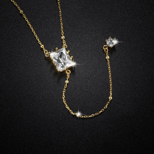 925 Sterling Silver Necklace Simple Fashion Micro Inlaid Zircon Square Tassel Long Pendant Sexy Clavicle Chain A302a