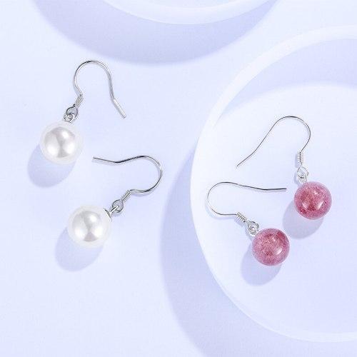Earrings S925 Silver Women's Korean-Style Fashion Shell Pearls Earrings Sweet Instafamous Niche Temperament Earrings E075