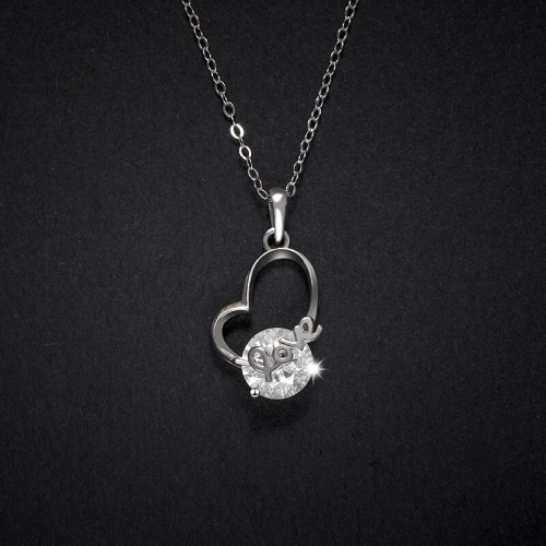 Women's Heart-Shaped Necklace S925 Sterling Silver Pendant Love Letter Collarbone Necklace Korean Fashion Necklace A590A