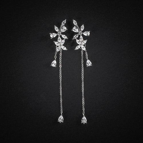 Flower Stud Earrings Tassel Long 925 Sterling Silver Korean Fashion Sweet Elegance Micro Inlaid Zircon Earrings E182E