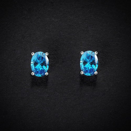 Blue Zircon Stud Earrings Oval Four-Claw Inlaid Creative Design Simple Fashion S925 Sterling Silver Girls Earrings E1207