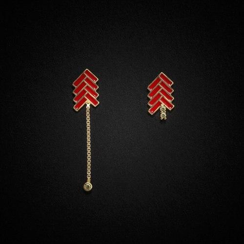 Asymmetric Tassel Stud Earrings Creative S925 Sterling Silver Red Firecrackers Long Earrings Chinese Style Earrings E1024E