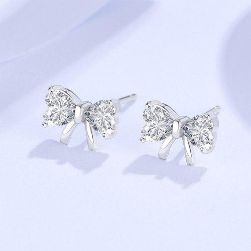 New Studs 925 Sterling Silver Bow Simple Temperamental All-Match Micro Inlaid Zircon Korean Earrings E452E