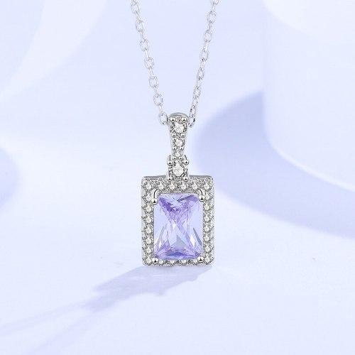 Micro Zircon-Laid Necklace Women's Square Geometric Niche Ins Style Clavicle Chain 925 Sterling Silver Pendant Fashion A1903