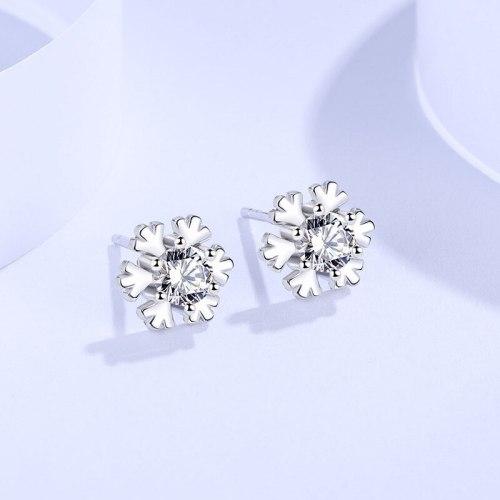 Cross-Border Stud Earrings Sterling Silver 999 Korean Style Women's Fashion Temperament Snowflake Zircon Earrings Jewelry E494