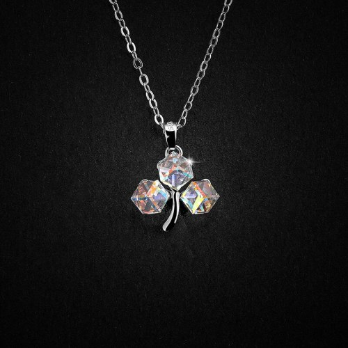 S925 Sterling Silver Necklace Flower-Shaped Square Sugar Color Three-Dimensional Square Crystal Single Pendant A1242