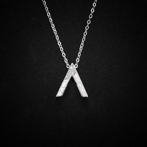 Letter V Necklace 925 Sterling Silver Girls' Korean Style Simple Design Temperament Micro Inlaid Zircon Clavicle Chain A1166