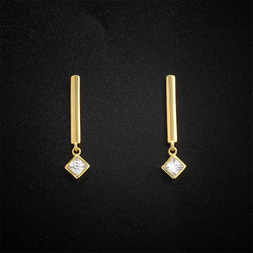 Rectangular Bar Stud Earrings New Fashion Simple Personalized Design Long Micro Inlaid Zircon 925 Sterling Silver Earrings E306E