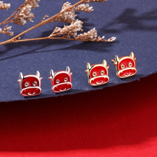Year of the Ox Ear Studs 925 Sterling Silver New Style Court Red Zodiac Small Cute Cow Earrings E2267