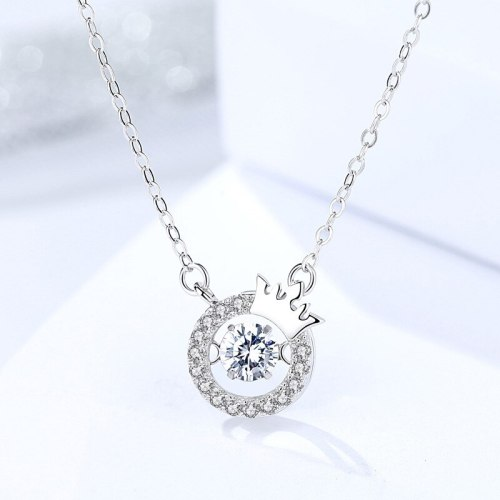S925 Sterling Silver Jewelry Crown Pendant Necklace Female Online Influencer round Shaking Zircon Necklace A1263