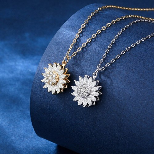 Platinum Gold SUNFLOWER Clavicle Chain Pendant Vacation Style Rotatable Sunflower New Necklace A865A