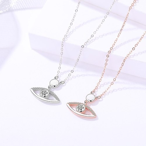 S925 Sterling Silver Ornament Women's Personalized Simple Devil's Eye Necklace Korean Style All-Match Clavicle Chain A1610