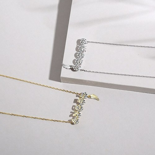 S925 Sterling Silver Necklace Cross-Border Accessories English Clavicle Chain Silver Accessories A1796