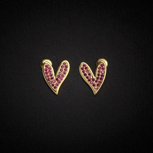 Love Heart Stud Earrings S925 Sterling Silver Small Cute Micro Inlaid Zircon Heart Shaped Earrings All-Match Jewelry E083E