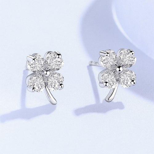 Stud Earrings for Women Clover Earrings 925 Wholesale Sterling Silver Simple Ins Style Zircon Ornament E575E