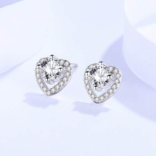 Earrings 925 Sterling Silver Ins Style Korean Style Earrings Female Zircon Heart-Shaped Hollow Ornament E109