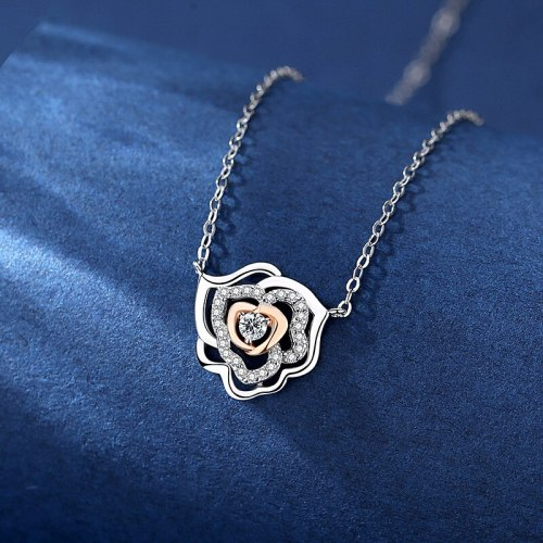 Korean Ornament S925 Sterling Silver Necklace Hollow Rose Zircon Pendant Clavicle Chain A760A