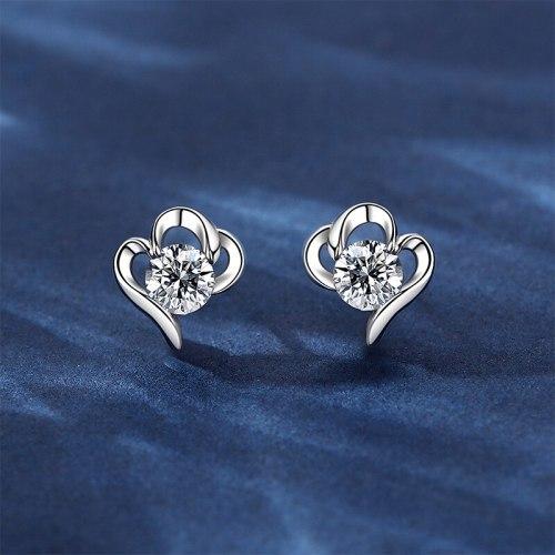 Love Heart Stud Earrings Women's Sterling Silver New Style High-Grade Earrings Graceful Earrings Earrings Summer Earrings E948