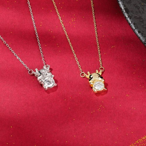 Niunian Necklace New S925 Sterling Silver Girls Fashion Simple Cute Zodiac Versatile Zircon Clavicle Chain YA0114