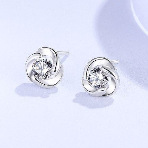 S925 Stud Earrings Sterling Silver Women's Simple and Light Luxury Graceful European and American Zircon Flower Earrings E1657