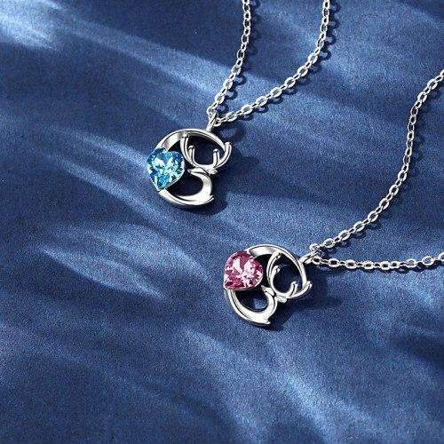 S925 Couple Necklace Men's and Women's Niche Design Pendant Commemorative Gift D21062401