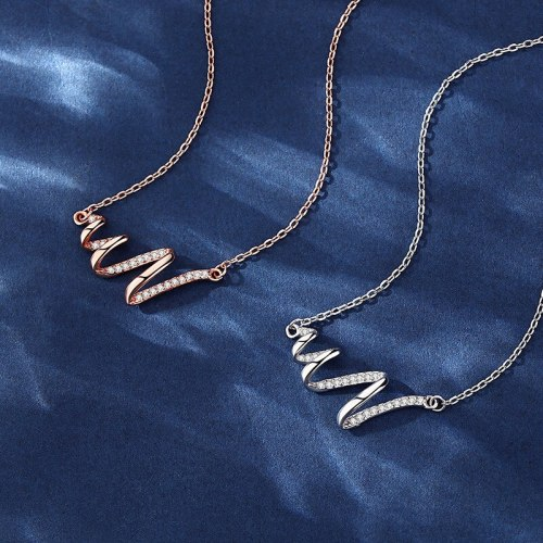 X New Sterling Silver Necklace Spiral Wave Niche Design Clavicle Chain Simple ECG Chain D21062801