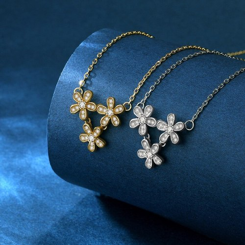 S925 Sterling Silver Refreshing Flower Necklace Light Luxury Exquisite Fashion Temperament Clavicle Chain D21052903