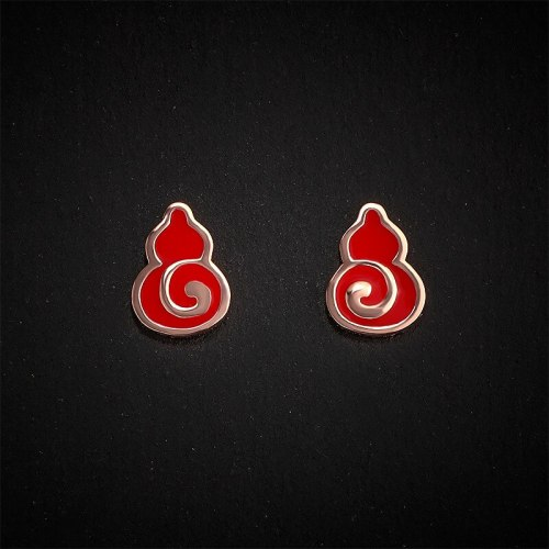 Gourd Stud Earrings for Women S925 Sterling Silver Red Epoxy Earrings Earrings Fashion Chinese Style Silver Accessories E105E