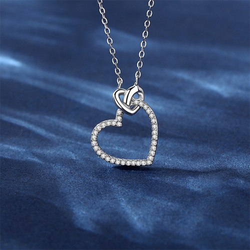 S925 Sterling Silver Hollow Love Star Winding Clavicle Chain Temperament New Pendant Necklace D21052906