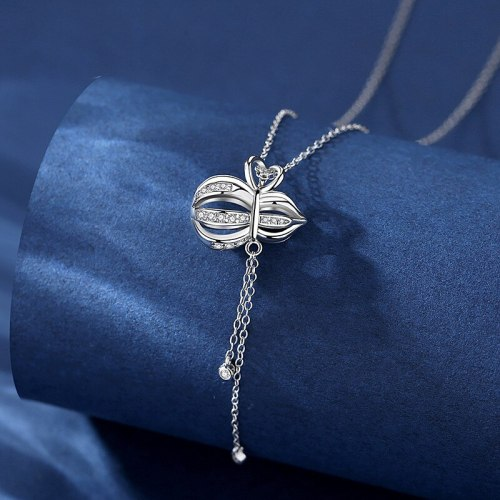 S925 Sterling Silver Gourd Zircon Pendant Necklace Niche Cross Clavicle Chain Jewelry A385A