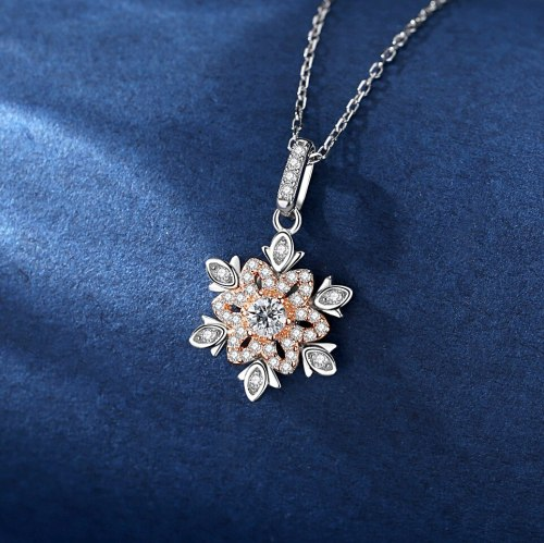 925 Sterling Silver Ornament Zircon-Laid Necklace Female Ins Korean Fashion Snowflake Pendant Clavicle Chain A495A