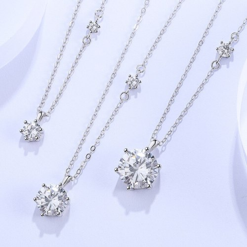 925 Sterling Silver Women's Necklace Simple Graceful Six-Claw Crown Zircon Clavicle Chain Ins Ornament A1524