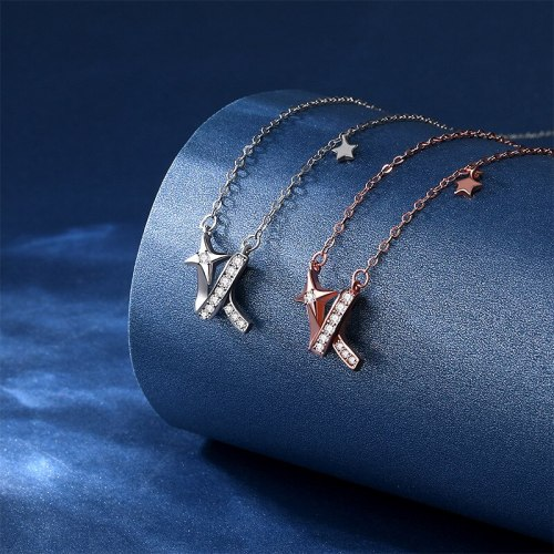 S925 Wish Meteor Sterling Silver Irregular XINGX Necklace Zircon Stylish Clavicle Clavicle Chain D21052905