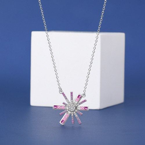 S925 Sterling Silver Necklace for Women Sweet and Diamond Mounted Asterism Short Clavicle Chain Irregular Flower Necklace A2149