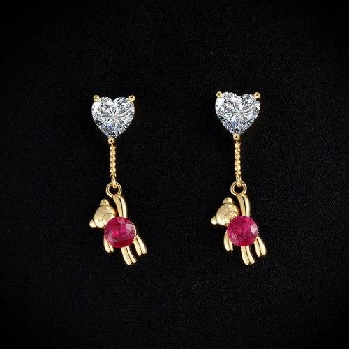 Bear Ear Studs New Fashion Eardrops Loving Heart Zircon Sweet Cute Women's Long 925 Silver Earrings E307e