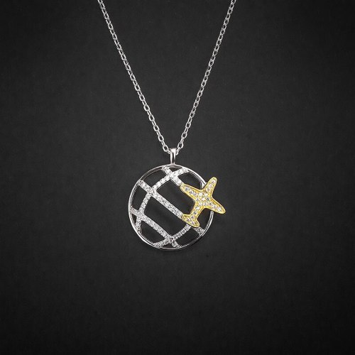 Travel around the World Necklace 925 Sterling Silver Women's Special Interest Light Luxury Korean Dream Planet Pendant A668A