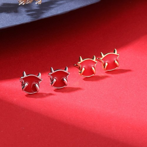 Year of Ox Stud Earrings Chinese Style Red New Style Cute Fashion Trendy S925 Sterling Silver Zodiac Year Earrings E2287