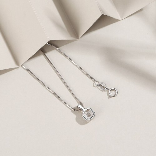 S925 Sterling Silver Pendant Female Accessories European and American Simple Zircon Necklace Silver Necklace Pendant A1829