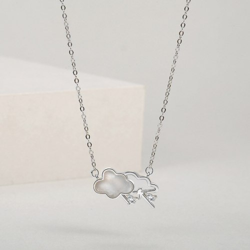 S925 Sterling Silver Cloud Shell Necklace Women's Fashion Creative Niche Design Korean Style White Shell Clavicle Chain A1820