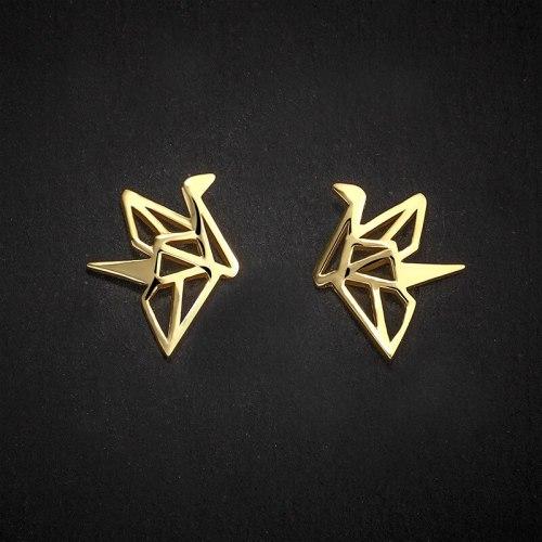 Paper Crane Earrings S925 Sterling Silver Temperamental Design Sense Hollow Ear Stud Fashion Simple Silver Jewelry E076E